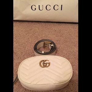Authentic Gucci Marmont Matelassé Leather Belt Bag